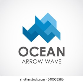 Ocean of arrow wave abstract vector and logo design or template blue ribbon business icon of company identity symbol concept
