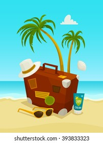Ocean beach concept with travel luggage palms sunglasses hat and cream, vector cartoon illustration