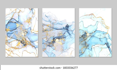 Ocean blue and gold marble abstract backgrounds in alcohol ink technique. Set of vector stone textures. Modern paint with glitter. Template for banner, poster design. Fluid art painting