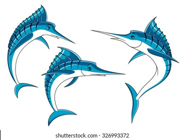 Ocean blue marlin fishes with shiny curved bodies and long bills, for fishing sport emblem or seafood design