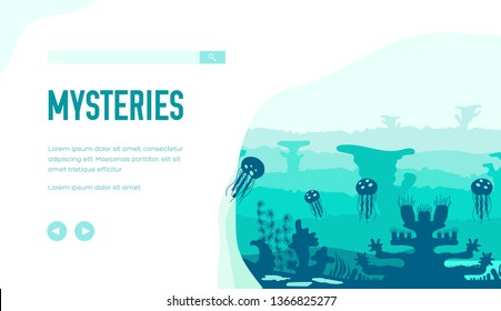 Ocean bottom with jellyfish, sargassum, coral reefs, algae. Secrets and mysteries of underwater world. Vector design, template for ecology, scuba diving projects. Place for text, copy space.