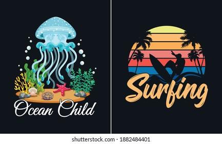 Ocean Child T Shirt Design, Beach T Shirt Design vector, Ocean T Shirt Design vector,