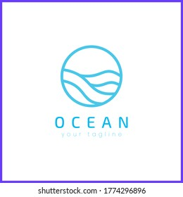 Ocean in a circle. Simple and modern logo design.