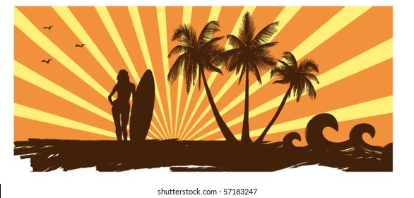 ocean coast and girl with a surf