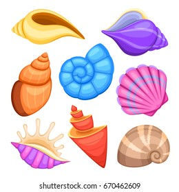 Ocean cockleshells. Cartoon sea shells vector collection. Illustration of sea cockleshells
