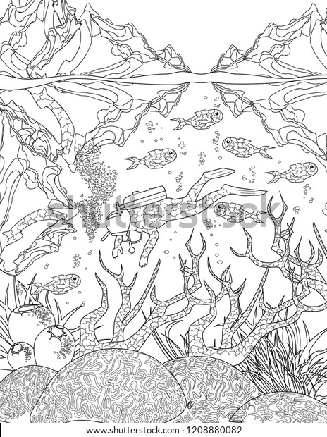 Ocean Coloring Book Page Adults Stock Vector (Royalty Free ...