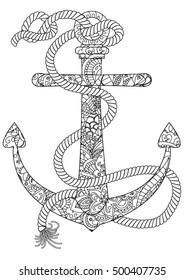 ocean coloring page, anchor