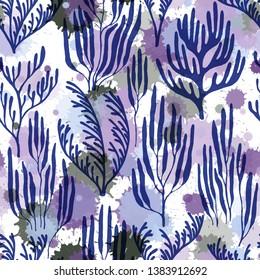 Ocean corals seamless pattern. Paint splashes drops watercolor background. Aquarium water plants summer vector design. Exotic marine life pattern. Mediterranean staghorn and pillar corals bushes.
