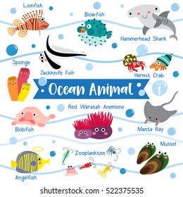 Ocean creature cartoon on white background with animal name. Set 1.