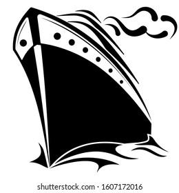 Ocean Cruise Ship. Sea Liner. Nautical  Logo. Front View. Editable.