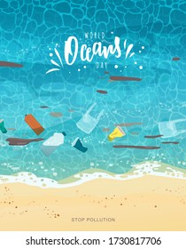 Ocean day hand lettering. Polluted seashore with sand, garbage, bottles, paper cups, plastic bags, trash, top view. Cartoon vector illustration.