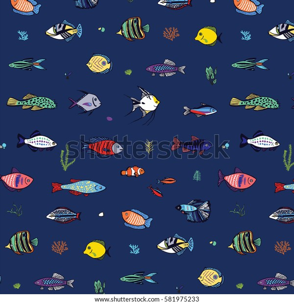ocean fish hand drawn pattern