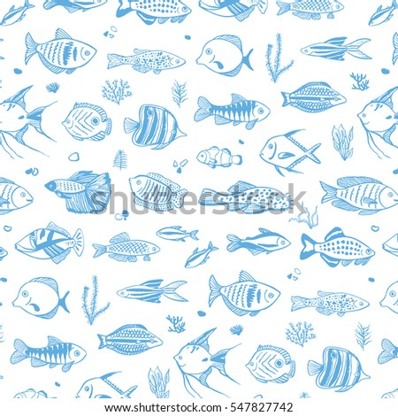 ocean fish pattern stock vector royalty free 547827742 shutterstock
