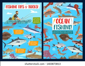 Ocean fishing outdoor adventure and fisher big catch. Vector fisher man in paddle boat with fishing rod, seafood octopus or squid and shrimp, marlin or tuna and pike, lobster and sheatfish or trout