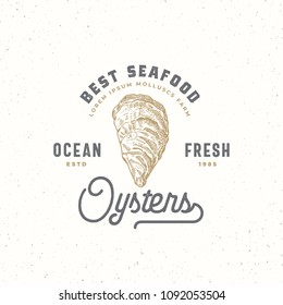 Ocean Fresh Oysters Abstract Vector Sign, Symbol or Logo Template. Hand Drawn Shellfish Mollusc with Premium Retro Typography. Vintage Vector Emblem Concept. Isolated.