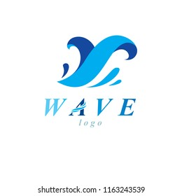 Ocean freshness theme vector symbol for use in mineral water advertising. Human and nature coexistence concept.