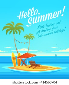 The Ocean Heals Everything. Summertime quote. Summer Holidays poster, background with small island, deckchair, sun umbrella, sandy beach, palms and the ocean. Vector illustration.