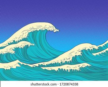 ocean high waves. Pop art retro vector illustration kitsch vintage 50s 60s style