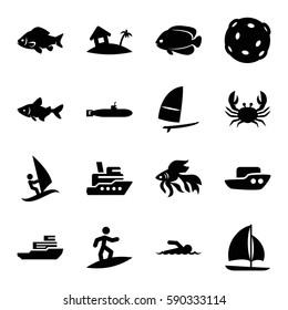 ocean icons set. Set of 16 ocean filled icons such as fish, crab, boat, home on island, sailboat, windsurfing, swimmer, surfing, extinct sea creature, submarine