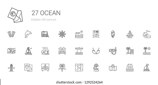 ocean icons set. Collection of ocean with map, pedal boat, beach, surfboard, lighthouse, dive, hammock, tsunami, boat, wave, sea, flood, rudder. Editable and scalable ocean icons.