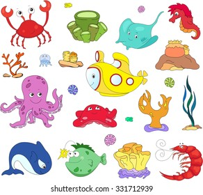 Ocean inhabitants and submarine. Octopus, jellyfish, starfish, sea-horse, reefs, crab, shrimp, rays, fish angler and corals in the ocean. Vector illustration about underwater world