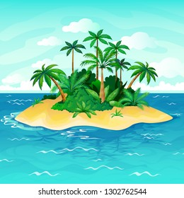 Ocean island cartoon. Palm trees sea uninhabited islands sky sand beach sun panorama view solitude tropical nature vector illustration
