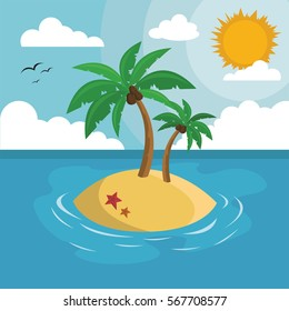 Ocean Island with palm tree