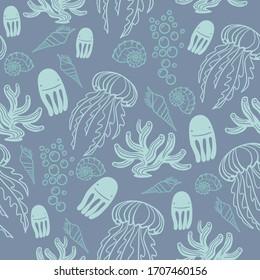 Ocean Jellyfish Coral Blue Pattern