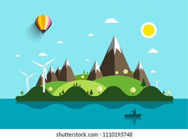 Ocean Landscape with Island and Man on Boat. Vector Flat Design Natural Scene. Summer Holidays Destination with Windmills and Mountains.