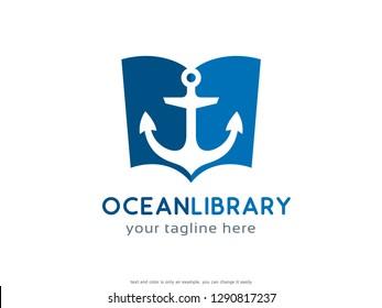 Ocean Library Logo Template Design Vector, Emblem, Concept Design, Creative Symbol, Icon