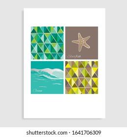 Ocean life catalog design. Vector illustration.