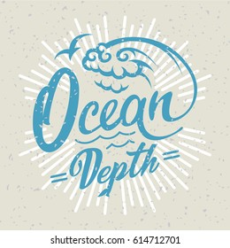 Ocean logo. Hand drawing