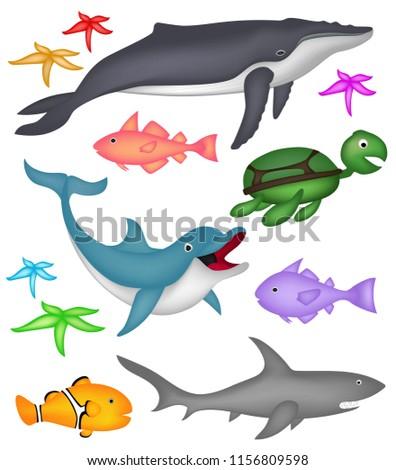 3c59b23c75c2 Ocean Marine Animals Humpback Whale Starfish Stock Vector (Royalty ...