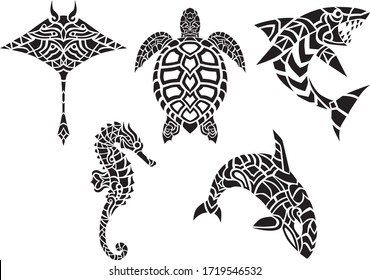 Ocean marine tribal hawaii home decor vector animals silhouette design set isolated in white