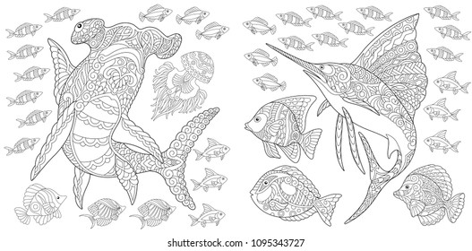 Ocean nature panorama. Hammerhead shark, sailfish and tropical fishes of different species. Coloring Page. Adult Coloring Book idea. Antistress freehand sketch collection.