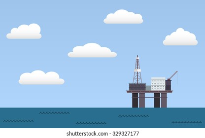 Ocean offshore oil rig drilling platform in flat icon design and blue sky with clouds background (vector)
