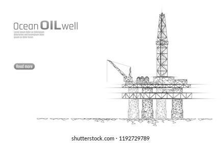 Ocean oil gas drilling rig low poly business concept. Finance economy polygonal petrol production. Petroleum fuel industry offshore extraction derricks line connection dots white vector illustration