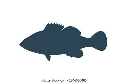 Ocean Perch silhouette. Isolated ocean perch on white background.
