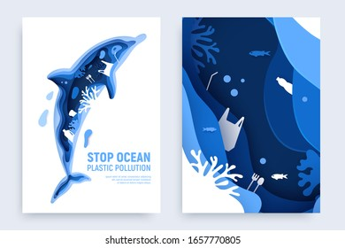 Ocean plastic pollution banner set with dolphin silhouette. Paper cut dolphin with plastic rubbish, fish, bubbles and coral reefs isolated on white background. Paper art vector illustration