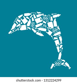 Ocean plastic pollution. Ecological poster Dolphin composed of white plastic waste bag, bottle on blue background. Plastic problem