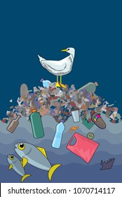 Ocean plastic pollution. Seagull sits on top of the pile of household waste floating in the sea. Vector illustration