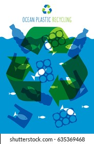 Ocean plastic pollution vector illustration. Plastic garbage (bag, bottle) in the ocean graphic design. Water waste problem creative concept. Eco problem banner with recycling sign.