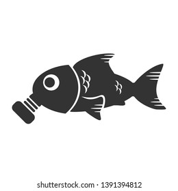 Ocean pollution concept. Fish in a gas mask and environmental problems. Vector pictogram illustration. Marine pollution.