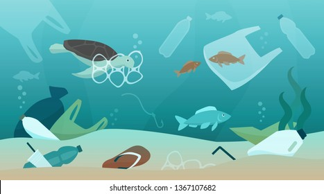 Ocean pollution impact on ecosystem and wildlife animals, sustainability and environmental protection concept
