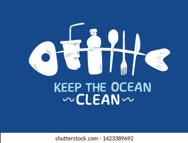 Ocean pollution vector illustration. Fish bone consisting of plastic bottle, straw, cup and spoon. Keep the sea, plastic free concept