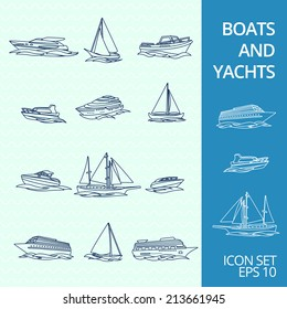 Ocean recreation cruise motor boats and sportive competitive sailing yachts outline sketch icons set isolated vector illustration