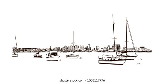Ocean of San Diego City in California, USA. Hand drawn sketch illustration in vector.
