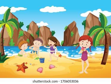 Ocean scene with people having fun on the beach illustration