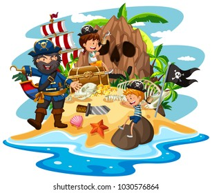 Ocean scene with pirate and children on treasure island illustration
