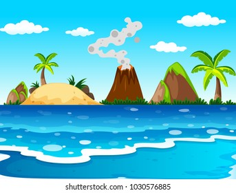 Ocean scene with volcano and island illustration